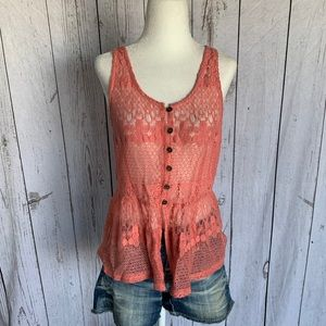 Women's Pinky Button-Front Lace Tank Top